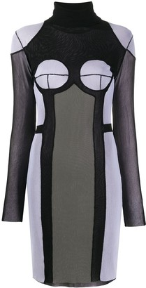 Jean Paul Gaultier Pre Owned 2000s Turtleneck Panelled Sheer Dress