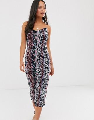 Miss Selfridge mesh midi dress in floral print-Black