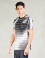Sunspel White/Navy/Haze Placement Stripe Crewneck T-shirt