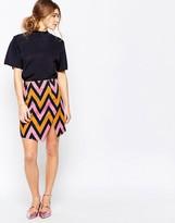 Traffic People Slit Skirt In Chevron Print