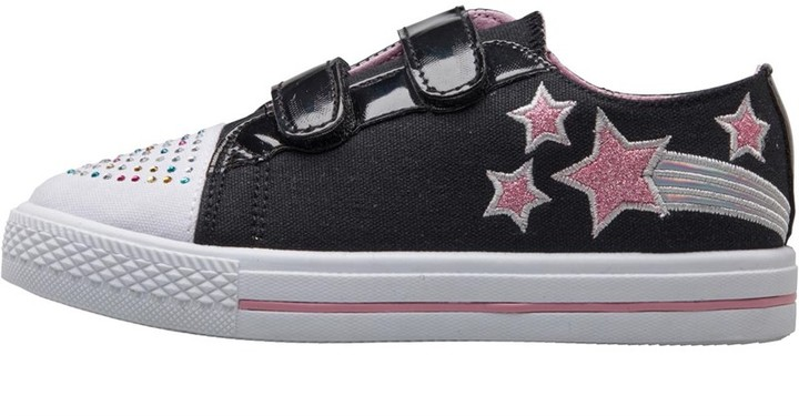 Board Angels Infant Girls Glitter Star Canvas Velcro Pumps Black/Pink