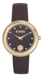Versus By Versace Women's Lea Burgundy Leather Strap Watch 35mm