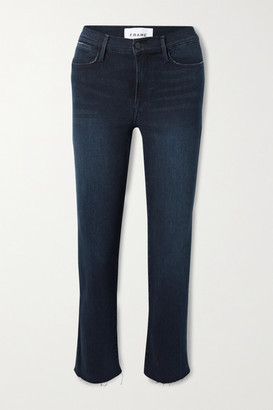 Frame Le High Frayed Straight-leg Jeans - Dark denim