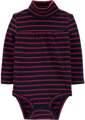 Osh Kosh Baby Girl Sparkle Striped Turtleneck Bodysuit