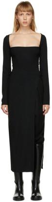 Ann Demeulemeester Black Wool Square Neck Dress