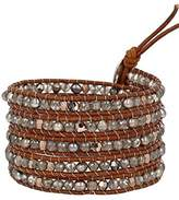 Chan Luu Women's 925 Sterling Silver Taupe Mixed Round Natural Brown Leather Wrapped Bracelet