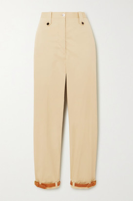 Giuliva Heritage Collection Net Sustain Space For Giants The Denys Leather-trimmed Cotton-blend Pants - Sand