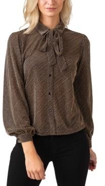 Belldini Black Label Women's Plus Size Metallic Button down Collared Knit Top with Tie-Neck
