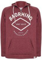Yours Clothing BadRhino Mens Burgundy Marl Applique Logo Detail Hoodie Hooded Top