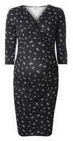 Dorothy Perkins Wo**maternity Black Floral Ruched Wrap Dress- Black