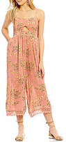 Patrons Of Peace Floral-Printed Cutout Lace-Up Back Jumpsuit