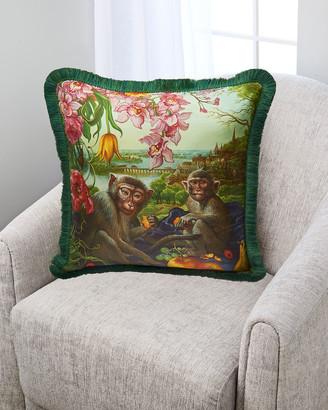 Yana Movchan Monkey Falling in My Dream Silk Pillow