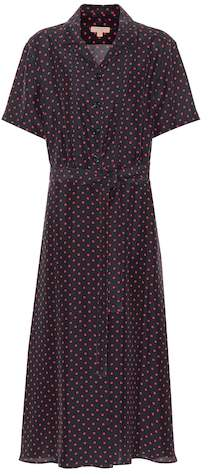 Burberry Polka-dot silk midi dress