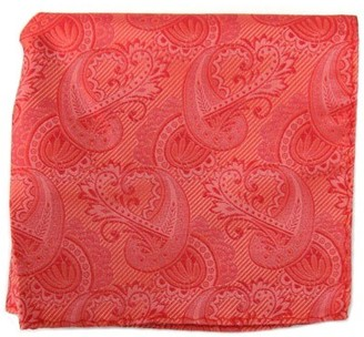 Tie Bar Twill Paisley Coral Pocket Square