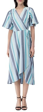 B Collection by Bobeau Orna Striped Wrap Dress