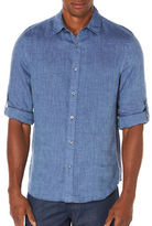 Perry Ellis Big and Tall Linen Roll Sleeve Woven Shirt