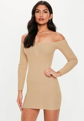 Missguided Cami Popper Bardot Knit Micro Dress