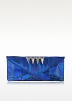 Maison Du Posh Metallic Blue Python Long Envelope Clutch