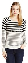 C&C California Women's Stripe Sweater with Faux Leather Detail