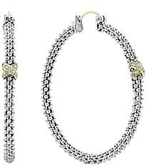 Lagos Sterling Silver & 18K Yellow Gold Caviar Lux Diamond Hoop Earrings