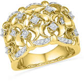 Zales 1/6 CT. T.W. Diamond Woven Band in Sterling Silver and 14K Gold Plate