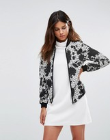 Helene Berman Zip Front Bomber Jacket in Black and White Lace