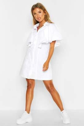 boohoo Woven Ruffle Detail Shift Dress
