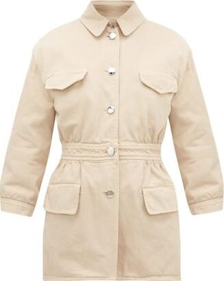 Prada Triangle-applique Denim Safari Jacket - Beige