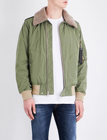 Rag & Bone Shearling-collar shell flight jacket