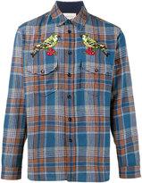Gucci bird applique checked shirt - men - Cotton/Polyamide/Wool - 38
