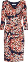 Gina Bacconi Abstract retro leaf print jersey dress