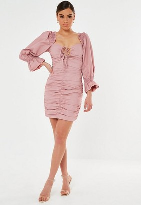 Missguided Pink Poplin Lace Up Puff Sleeve Mini Dress
