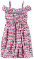 Carter's Pom-Pom Trim Geometric Floral-Print Dress, Little Girls (2-6X) & Big Girls (7-16)