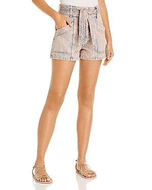 Joie Edana Belted Acid-Wash Cotton Denim Shorts