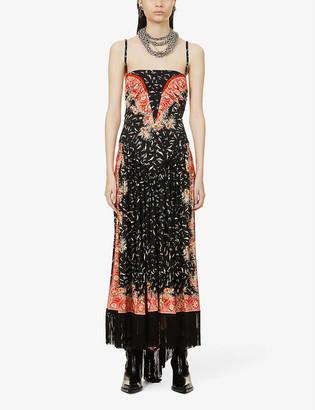 Paco Rabanne Floral-print fringe-hem stretch-woven maxi dress