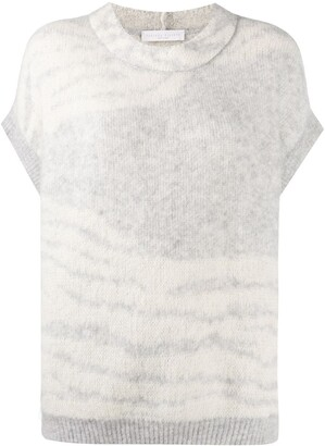 Fabiana Filippi Zebra Print Short-Sleeve Jumper