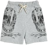 Fred Mello Skulls Print Cotton Sweatshorts
