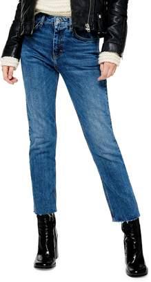 Topshop Raw Hem Straight Jeans 34-Inch Leg