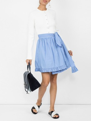 Stella McCartney Striped Ruffle-trimmed Skirt Blue