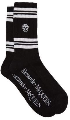 Alexander McQueen Skull Jacquard Metallic Cotton Blend Socks - Mens - Black White