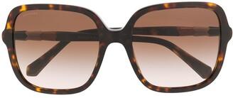 Bvlgari Oversized Frame Tortoiseshell Sunglasses