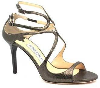 "Jimmy Choo Ivette"" Pewter Leather High Heel Sandal"