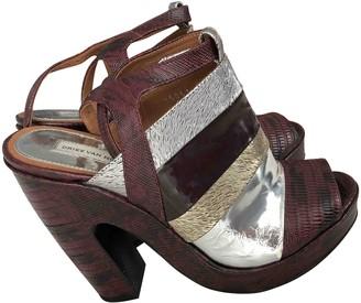 Dries Van Noten Burgundy Fur Sandals