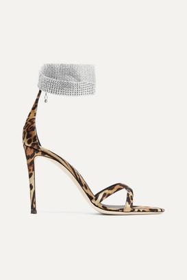 Giuseppe Zanotti Swarovski Crystal-embellished Leopard-print Satin Sandals - Leopard print