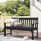"Polywoodâ® Vineyard Plastic Garden Bench POLYWOODA Size: 35.25"" H x 60"" W x 24"" D, Color: Black"
