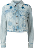 Givenchy star print bleached denim jacket - women - Cotton - 38