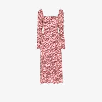 Reformation Womens Red Signmund Square Neck Midi Dress