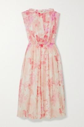 Jason Wu Ruffled Pleated Floral-print Tulle Midi Dress