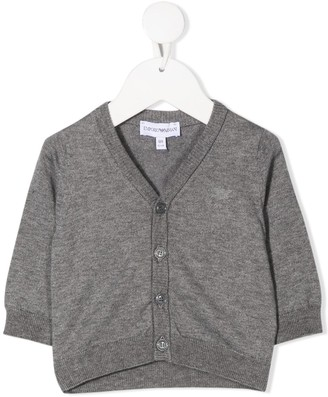 Emporio Armani Kids Raised Logo Rib-Trimmed Cardigan