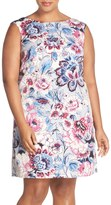 Adrianna Papell Moving Floral Print Faille Shift Dress (Plus Size)